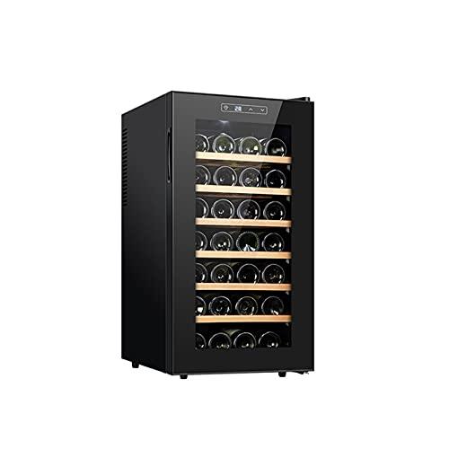 MIAOYO Vinoteca,28 Botellas Refrigerador De Vino,Operación Silenciosa Vinoteca,Vinoteca para Cocina Pequeña Apartamento Cabaña RV,Negro,45x52x73cm