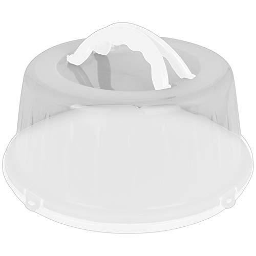 Kuchenhaube 33x15cm mit Farbwahl Tortenbehälter rund Kunststoff Tortenbox Kuchenbehälter Tortenglocke Transportbehälter Kuchen Torten Box (Weiß)