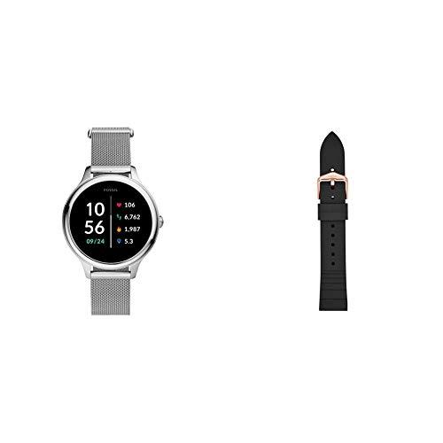 Fossil Connected Smartwatch Gen 5E para Mujer con tecnología Wear OS de Google, frecuencia cardíaca, GPS, NFC y notificaciones smartwatch, Milanesa de Acero Inoxidable + Correa de Reloj S181369