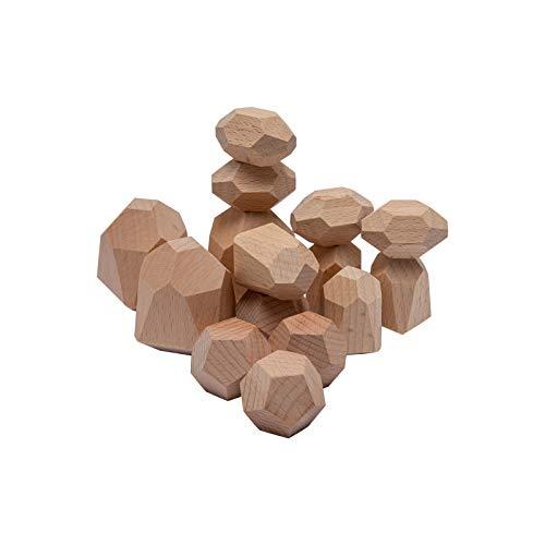 Mamimami Home 積み木 木のおもちゃ 木製パズル 100%の木 15個 安全無塗装 モンテッソーリ 玩具 立体パズル 知育玩具 テーブルゲーム バランスゲーム 指先訓練 子供 幼児 おもちゃ 誕生日 保育園 入園祝い 出産祝い ギフト