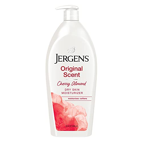 Jergens Original Scent Dry Skin Lotion, Body and Hand Moisturizer for Long Lasting Skin Hydration, with HYDRALUCENCE blend and Cherry Almond Essence, 32 Ounce
