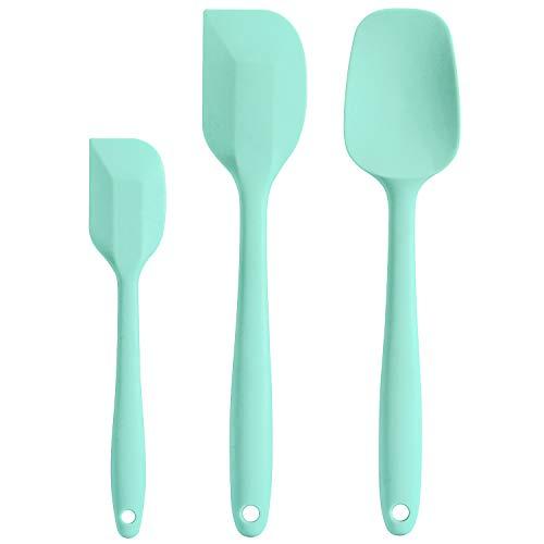 Cooptop Silicone Spatula Set - Rubber Spatula - Heat Resistant Baking Spoon & Spatulas - Pro Grade Non-stick Silicone with Steel Core (Mint Green)