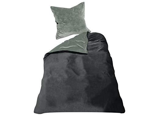 Wendebettwäscheset - Cashmere Touch - 100{217db260dc6173e03a8e5f2d028120353df3f84a2ea0c9389f4078400448f3c2} Mikrofaser - inklusive Kissenbezug & Bettbezug in 6 Farbkombinationen, ca. 135 x 200 cm + 80 x 80 cm, Stone/anthrazit