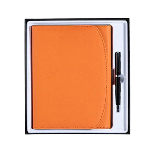 ZANZAN Cuadernos de Notas Diario A5 Cuaderno De Hojas Sueltas Cuaderno Multifunción para Reuniones Caja De Regalo (90 Hojas = 180 Páginas) blocs de Notas (Color : Orange)