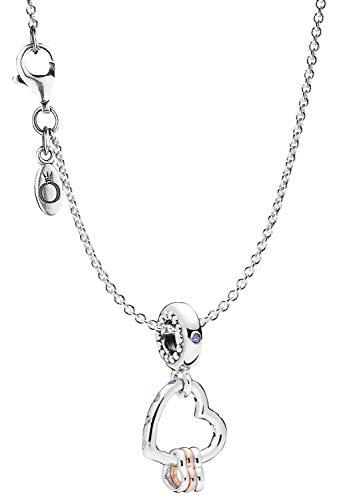 Pandora Collar con colgante de corazón de plata 925, elegante joya para el cuello, hermoso set de regalo para mujeres de moda, 75252