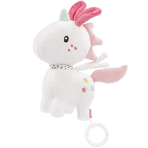 Fehn 057072 Spieluhr Einhorn Aiko – Kuschelige Spieluhr mit herausnehmbarem Spielwerk – Mit Befestigung – Für Babys ab 0 Monaten – Größe: 20 cm
