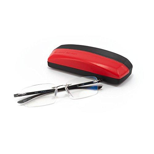 MIDI-ミディ ふちなし老眼鏡と良質メガネケースセット ブルーライトカット 紫外線カットレンズ ブラック (M-307N,C2,+3.00)