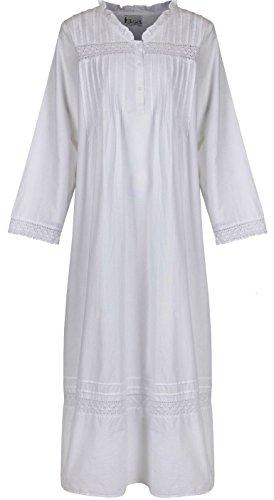 The 1 for U 100% Baumwolle Nachthemd - Annabelle S - XXXXL - Weiß, Weiß, S