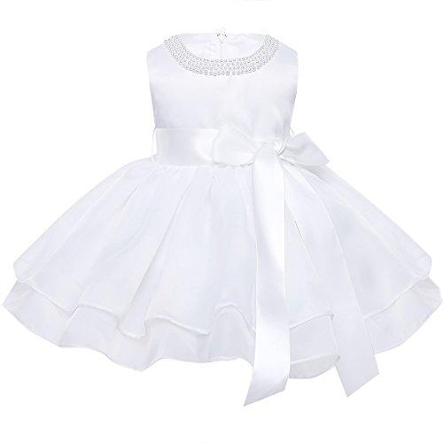 TiaoBug Neugeborenen Kleidung Baby Kleid Mädchen Taufkleid festlich Hochzeit Kleid Partykleid Festzug Gr. 62-98 Elfenbein 80-86