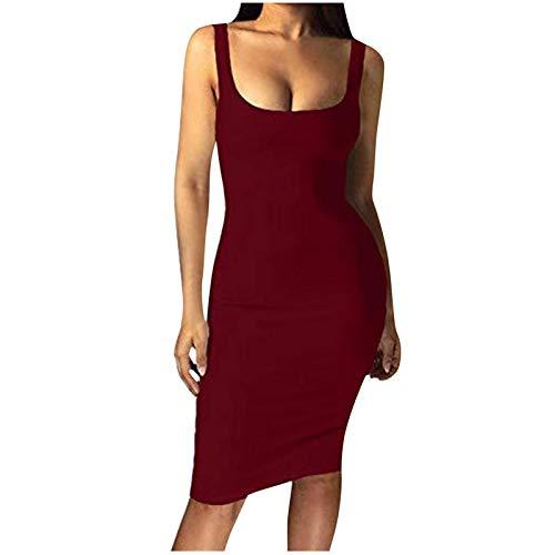 Vestido de negocios, de patchwork, para mujer, para verano, de un solo color, sin mangas, corte ajustado, para noche, oficina Rojo vino. S