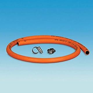 coverandcarry Gasschlauch, 8 mm, für LPG, Butan/Propan, Meterware, mit Clips, Orange