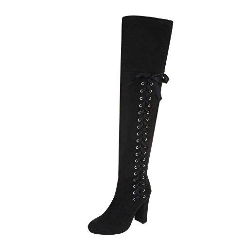 Ital-Design Overknees Damen-Schuhe Klassischer Stiefel Pump High Heels Reißverschluss Stiefel Schwarz, Gr 36, 0-200-