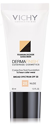 Vichy Dermafinish Corrective Fluid Foundation with SPF 30, 25 Nude, 1 Fl Oz