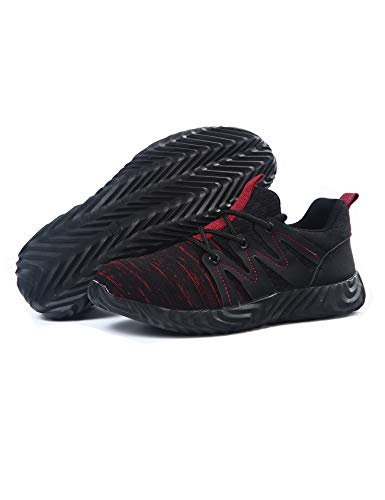 [ラッコウ] 安全靴 作業靴 スニーカー 鋼先芯入れ 通気性 耐滑 軽量 刺す叩く防止 メーズ レディース ブラックレッド 27.5 cm
