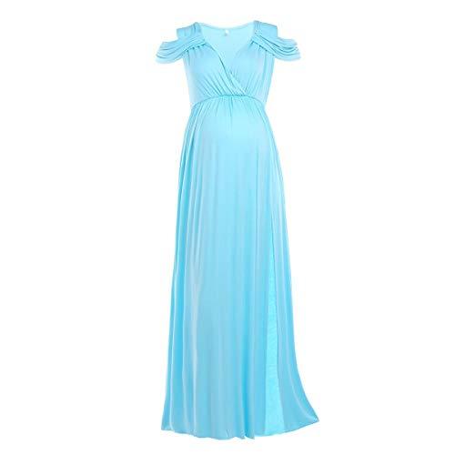 FYMNSI - Vestido de mujer para embarazadas, para fotografa, con hombros descubiertos, sin hombros Azul claro (parte delantera dividida). XL
