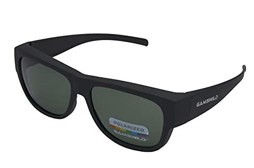 Gamswild WS6022 Überbrille Sonnenbrille Sportbrille Damen Herren Fahrradbrille | Schwarz G15 | blau | bordeaux, Farbe: Schwarz