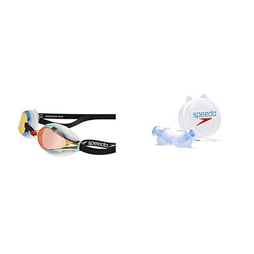 Speedo Fastskin Speedsocket 2 Gafas de Natación, Unisex Adulto, Blanco/Mirror, Talla Única + Ergo Tapones para Los Oídos, Unisex Adulto, Colores Surtidos (Azul, Graphite), S