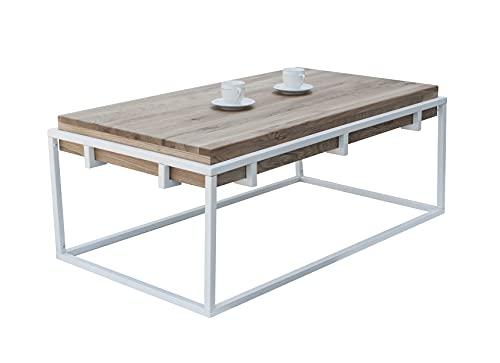 Lumarc Padova - Mesa de salón de madera maciza de roble natural de diseño moderno industrial minimalista, rectangular, 110 x 60 x 42 cm