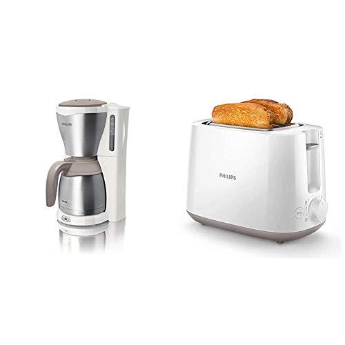 Philips HD7546/00 Gaia Filter-Kaffeemaschine mit Thermo-Kanne, weiß/beige/metall & HD2581/00 Toaster, integrierter Brötchenaufsatz, 8 Bräunungsstufen, weiß