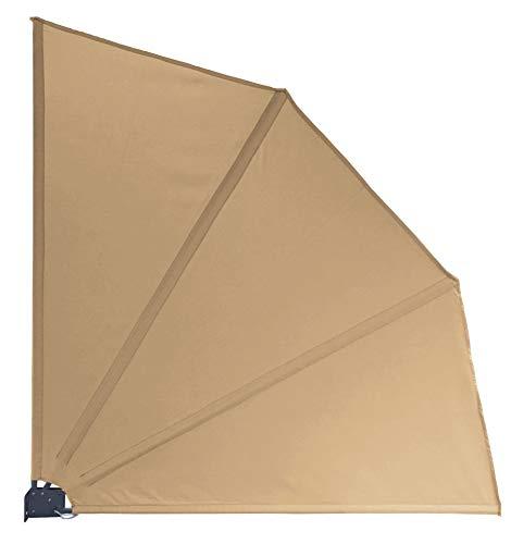 QUICK STAR Sichtschutz Fächer 115 x 115 cm Sand mit WANDPLATTE Blickdicht Balkon Trennwand Windschutz Sonnenschutz
