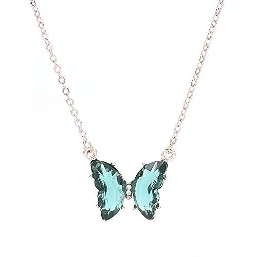 Super Fairy Girl Fantasy Glass Crystal Crystal Butterfly Colgante Collar De Clavícula Femenino Cadena Popular Collar #345 (Metal Color : AL930, Size : 50cm)