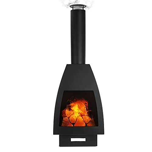 LIVIVO Seville Chiminea Patio Heater for Wide Heat Output and Viewing Angle, Stylish Mexican-Inspired External Details, Weather and Rust-Resistant Material Comes With Free Chiminea Cover(127cm)