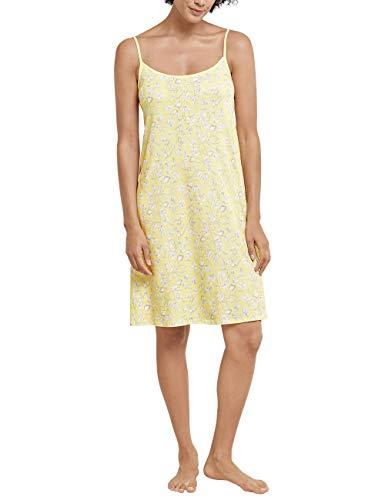 Schiesser Damen Sleepshirt Spaghetti, 90Cm Nachthemd, Gelb (gelb 600), 42 (Herstellergröße:042)