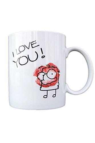 Grimmis – I Love You Rouge à lèvres Baiser – Tasse en porcelaine dans une boîte cadeau – Taille 9,5 cm