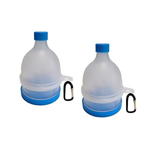 REOOHOUSE Tragbarer Pulver-Ergänzungs-Tablettenbehälter-Trichter-Protein BCAA-Kreatin-Kapselunterteilungs-Trichter (2 Schicht 2 Packung)