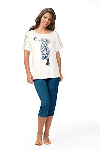 e.Femme® Pijama para mujer Susan 798 de viscosa con estampado de tigre Impresión Pertol. 38
