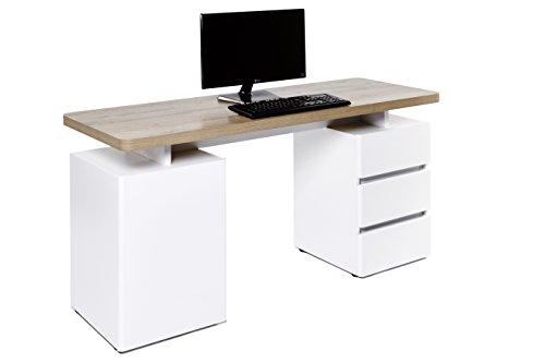Amazon Marke -Movian Skadar - Schreibtisch mit 1 Tür und 3 Schubladen, 150x55x76cm, Farbe: Riviera Eiche/Mattweiß