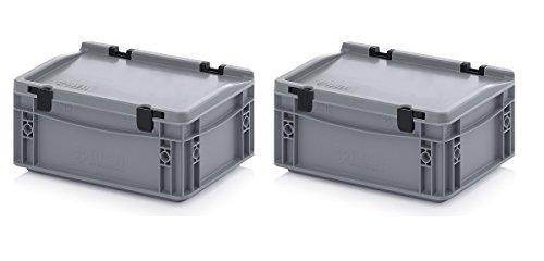 2x Eurobehälter 30 x 20 x 13,5 cm mit Scharnierdeckel inkl. gratis Zollstock 2er Set