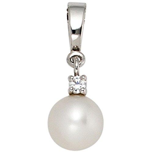 JOBO Anhänger 585 Gold Weißgold 1 Süßwasser-Perle 1 Diamant-Brillant 0,04ct.