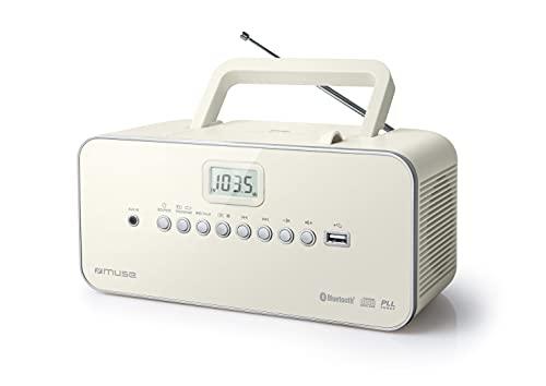Radio Portable Muse - M-30 BTB - Radio, CD, mp3, USB avec Fonction Bluetooth - Mémorise Les émissions - Fonctionnement sur Piles ou sur Secteur weiß