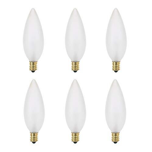 40W B10 Incandescent Frosted Chandelier Light Bulb, Torpedo Tip, E12 Candelabra Base, 360 Lumens, Dimmable, 130V, (6 Pack)