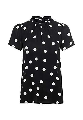 HALLHUBER Georgette-Bluse mit Tupfenprint gerade und weit geschnitten schwarz, 38