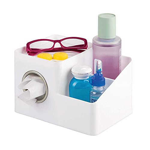 mDesign Square Facial Tissue Box Cover Holder, Storage Organizer Caddy for Bathroom Vanity Countertop, Bedroom Dresser, Night Stand, Desk, Table - Holds Makeup, Toiletries, Pens - White/Satin
