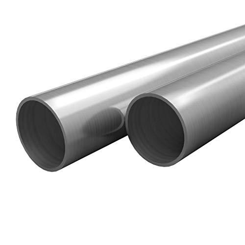 UnfadeMemory 2uds Tubo de Acero Inoxidable Redondos,Barras Huecas de Acero Inoxidable,Resistentes al Calor y la Corrosión,V2A,Grano 240 (Longitud 197cm, 12x1,45mm)