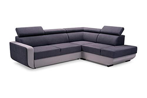 MOEBLO Ecksofa mit Schlaffunktion mit Bettkasten Sofa Couch L-Form Polstergarnitur Wohnlandschaft Polstersofa mit Ottomane Couchgranitur - VITAL...