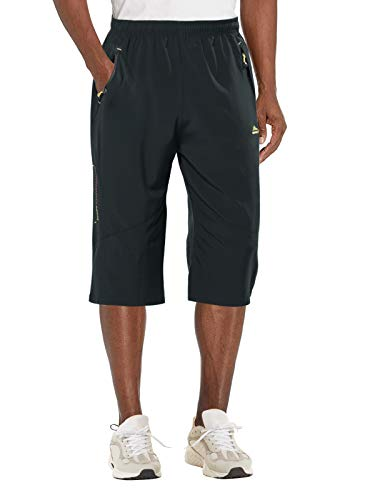 EKLENTSON Men's Cargo Shorts Below Knee Loose Fit Elastic Waist Capri Shorts for Men Gym Shorts 3/4 Pants for Men Sports Dark Grey
