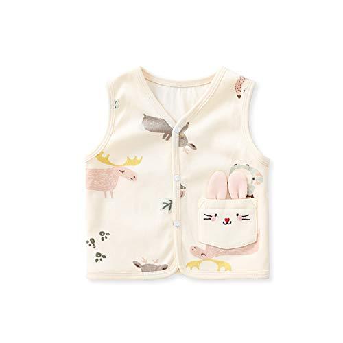 pureborn Baby Girl Vest Waistcoat 2 Layers 100% Cotton Beige Animals...