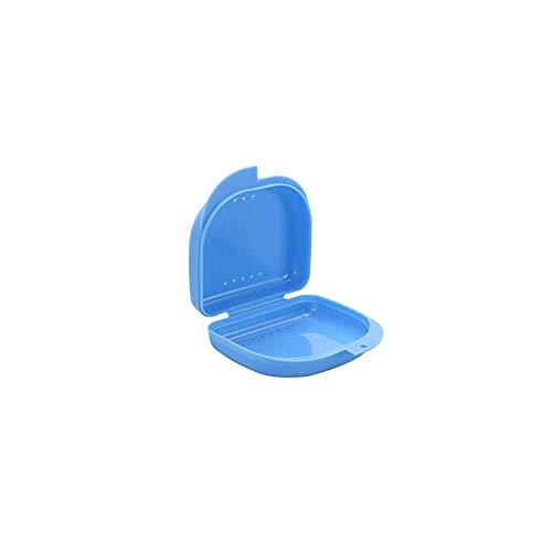 Dientes Dental Caso plástico Portable dentadura Caja Dental de ortodoncia de retención de la dentadura Caso Retenedores Envase-Blue 1pc