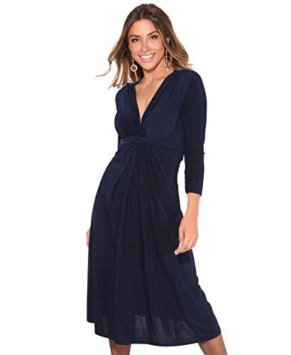 KRISP Vestido Mujer Corto Talla Grande Boda Noche Manga Cóctel Fiesta Elástico Plisado Elegante Ceremonia, (Azul Marino (2705), 44 EU (16 UK)), 2705-NVY-16