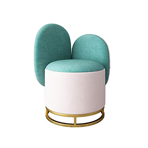 ZTCWS Flannel Footrest Stool Ottoman Round Modern Upholstered Vanity Footstool Side Table Seat Dressing Chair with Golden Metal Leg, for Living Room Home Bedroom,D
