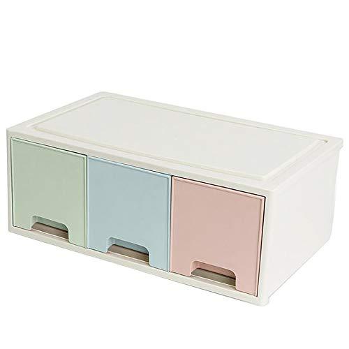 Organizador de Maquillaje Caja de almacenamiento de mesa de almacenamiento de escritorio cosmético caja de almacenamiento superimpositable para Dresser ( Color : Tricolor , Size : 12.5x19.2x32cm )