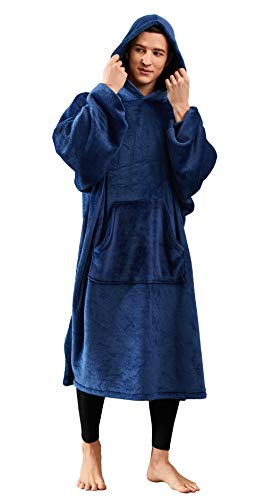 Hooded Blanket with Sleeves and Foot Pockets for Adult Women Men, Lightweight Soft Fleece Wearable Blanket WrapThrow for Reading Watching Sleeping( Kangaroo Pocket)