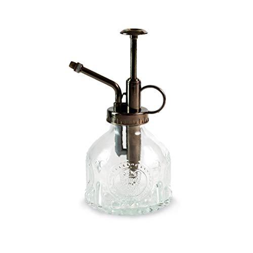 JuneJour Regadera con pulverizador de plantas, retro, diseño clásico, botella de cristal para plantas, jardín, oficina, habitación, decoración, 200 ml (1 transparente)