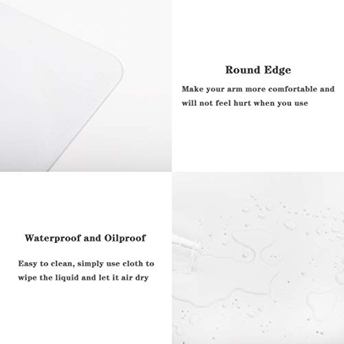 """YSAGi Clear Desk Pad Protector, Round Edge Non Slip Clear Writing Mat, 31.5""""x15.7"""" Waterproof PVC Clear Desk Mat with 7.9""""x9.8"""" Waterproof PU Leather Mouse Pad for Office/Home (Frosted+Black) Photo #3"""