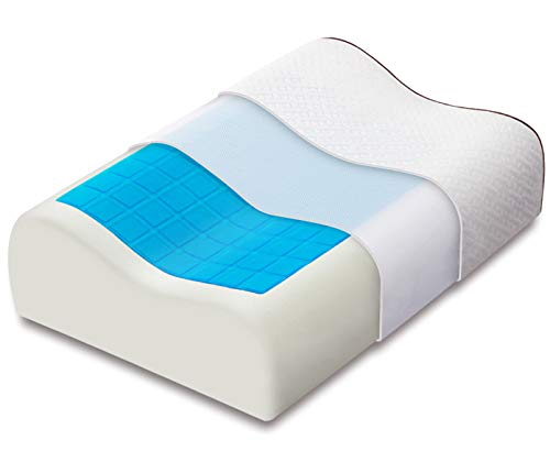 Ecosafeter Contour Memory Foam Pillows with Cooling Gel - Heat Dissipating...