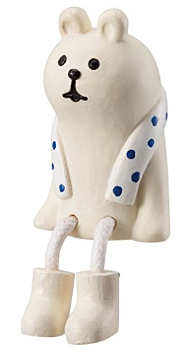 Sitzender cremefarbener Bär mit Schal Figur Japan